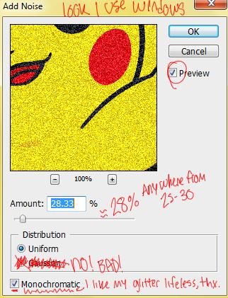 Photoshop Glitter Tutorial noise options